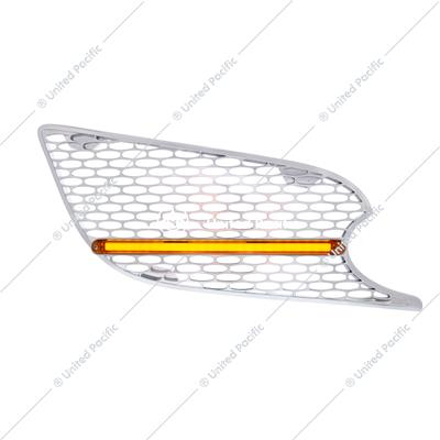 Chrome Air Intake Grille w/ GLO LED Light For 2012-2021 Peterbilt 579 (Passenger) - Amber LED/Amber Lens