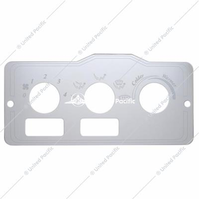 Peterbilt Stainless A/C Control Plate - 2 Square Openings