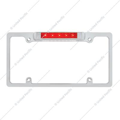Chrome License Plate Frame With 3rd Brake Light - Red LED/Red Lens