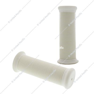 "White Motorcycle Rubber Grip Set - 7/8"" or 1"" (22/25mm) (Pair)"