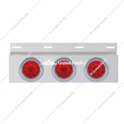 "Stainless Top Mud Flap Plate w/ Three 10 LED 4"" Lights & Visors - Red LED/Red Lens"