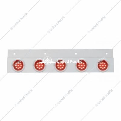 "Stainless Top Mud Flap Plate w/ Five 9 LED 2"" Lights & Visors - Red LED/Red Lens"