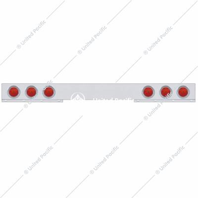 "Stainless 1 Piece Rear Light Bar w/ Six 7 LED 4"" Reflector Lights & Visors - Red LED/Red Lens"