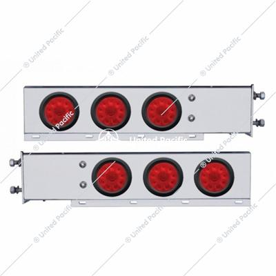 "3-3/4"" Bolt Pattern SS Spring Loaded Bar w/6X 4"" 10 LED Lights -Red LED & Lens"