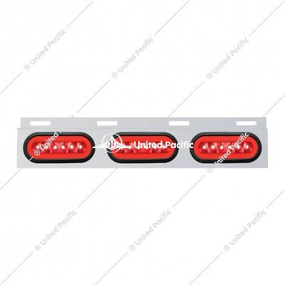 "Stainless Top Mud Flap Bracket w/ Three 22 LED 6"" Oval ""GLO"" Lights & Grommets - Red LED/Red Lens"