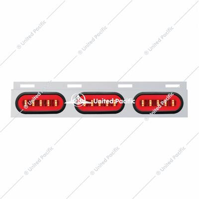 "Stainless Top Mud Flap Bracket w/ Three 22 LED 6"" Oval ""GLO"" Lights & Grommet - Red LED/Clear Lens"
