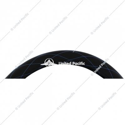 "18"" Black Diamond Stitched Leather Steering Wheel Cover - Blue"