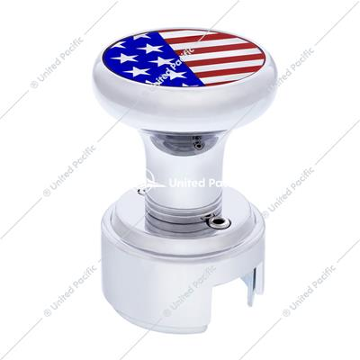 Chrome 13/15/18 Speed Thread-on Gearshift Knob w/ Adaptor - US Flag