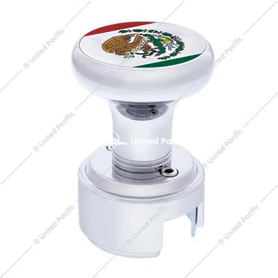 Chrome 13/15/18 Speed Thread-on Gearshift Knob w/ Adaptor - Mexico Flag